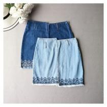 wedding photo - Vintage Embroidery Sheath Zipper Up Cowboy Summer Skirt - Discount Fashion in beenono