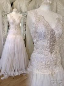 wedding photo - Wedding dress ethereal white,bridal gown lace,wedding dress corset back, antique French lace, couture wedding dress,rawrags,Danish