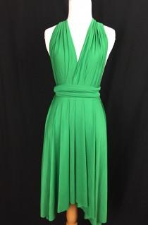 wedding photo - Green dress,Bridesmaid Dress , Infinity Dress,Knee Length Wrap Convertible Dress.Party dress-A31#