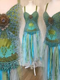 wedding photo - Wedding dress colourful,Boho dress free spirit, wedding dress mermaid,,gypsy dress free spirit ,boho wedding dress,peacook colors,Rawrags