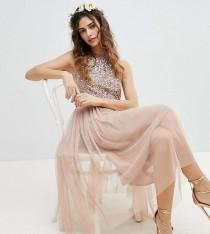 wedding photo - Maya Sleeveless Sequin Bodice Tulle Detail Midi Bridesmaid Dress With Cutout Back