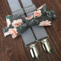 wedding photo - Gray and blush floral Bow Tie and Suspender Set for men, boys, toddlers, and babies. Sent 1-3 business days after you order