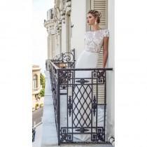 wedding photo - Alessandra Rinaudo 2017 Bruna Chapel Train Elegant Bateau Fit & Flare Cap Sleeves Lace Open Back Embroidery Dress For Bride - Rosy Bridesmaid Dresses