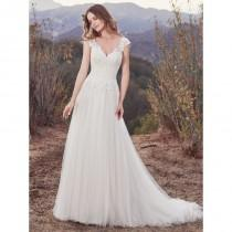 wedding photo - Maggie Sottero Fall/Winter 2017 Hensley Chapel Train Sweet Ivory V-Neck Cap Sleeves Aline Appliques Tulle Bridal Gown - Brand Wedding Dresses