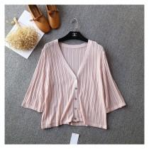 wedding photo - V-neck 1/2 Sleeves Summer Top Cardigan Knitted Sweater - Discount Fashion in beenono