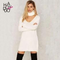 wedding photo - Vogue Hollow Out High Neck Drop Shoulder One Color Fall Dress Sweater - Bonny YZOZO Boutique Store