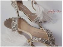 wedding photo - Wedding Shoes Hand Embellished with Swarovski/ Bridal Shoes with White Feathers/ Crystal Heels