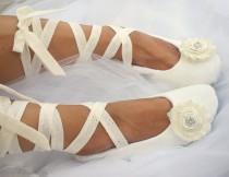 wedding photo - Ivory Lace Up Wedding Ballet Flats,Custom Wedding Shoes