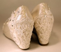 wedding photo - Wedding Shoes, Lower Wedge , Shoes, Ivory wedges, Closed Toe Wedges, Shoes with Lace , Bridal Shoes, Bridal  Wedges , High Heels, Low heels