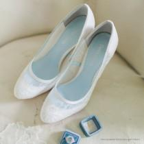 wedding photo - Classic Chantilly Lace Wedding Shoes Closed Toe Pumps with Something Blue Lining Bridal Shoes Bella Belle Shoes Millie