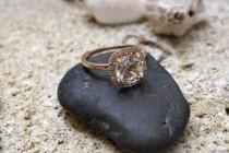 wedding photo - Unique Vintage Style White Topaz Engagement Ring in Gold Diamond Wedding Band jewelry Halo diamond ring Gemstone Unusual engagement ring