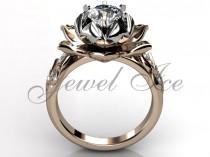 wedding photo - Lotus Flower Engagement Ring - 14k Rose and White Gold Diamond Unique Lotus Flower Engagement Ring, Lotus Flower Wedding Ring ER-1076-6