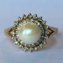 wedding photo - Vintage Pearl Ring. Diamond Halo. 10K Yellow Gold. Estate Jewelry.  June Birthstone. 4th Anniversary. Unique Engagement Ring. Estate Jewelry