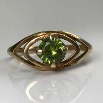 wedding photo - Vintage Peridot Ring. 10K Rose Gold. 0.50 Carat Peridot. Unique Engagement Ring. Statement Ring. August Birthstone. 16th Anniversary Gift.