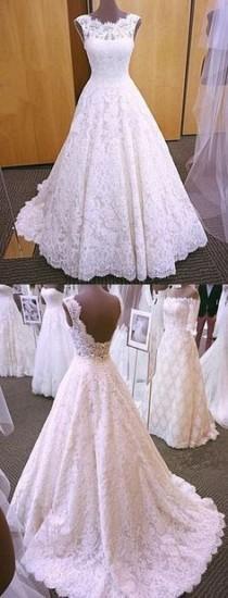 wedding photo - Vintage Cap Sleeves Open Back Lace Wedding Dresses 2018