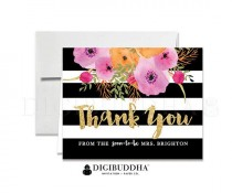 wedding photo - BRIDAL THANK YOU Cards Folded Thank You Bridal Shower Bridal Stationery Black Stripe Gold Glitter Engagement Printed Thanks Notecard - Mady