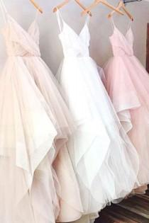 wedding photo - Pink/White Spaghetti Straps Sleeveless Asymmetry Tulle Prom Dress