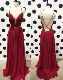 wedding photo - Burgundy Lace Backless Long Prom Dress, Lace Evening Dress