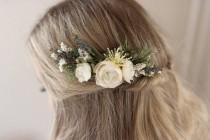 wedding photo - Ivory Flower Comb- Rustic Wedding- Dried Flower Comb- Ivory Floral Comb- Lavender Hair Accessory- Rosemary Greenery Comb- Summer Wedding