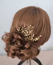 wedding photo - Pair of bridal seed pearl hair pins in either gold or silver pearl spray hairpins bridal hairpiece bridesmaid hair accessory headpiece