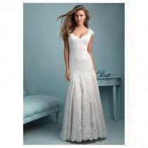wedding photo - Elegant Tulle & Organza Square Neckline Natural Waistline Sheath Wedding Dress With Lace Appliques - overpinks.com