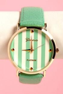 wedding photo - The Clock Stripes Twelve Mint Green Watch