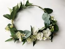 wedding photo - Winter flower crown, bridal flower crown, simple green and white floral headpiece, white rose flower crown, boho wedding, rustic, pantone