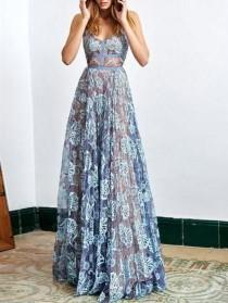 wedding photo - Charming A-line Spaghetti Straps Floor-length Prom Drsess Evening Gowns SKY915