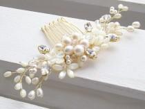 wedding photo - Bridal hair comb, bridal headpiece, wedding hair comb, floral hair comb, pearl hair comb, pearl hair adornment