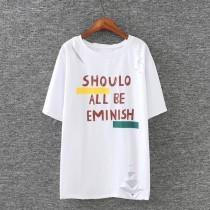 wedding photo - Oversized Ripped Plus Size Short Sleeves Alphabet Summer T-shirt - Lafannie Fashion Shop