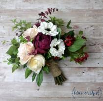 wedding photo - Fall Wedding Bouquet, Wedding Bouquet, Wedding Flowers, Bridal Bouquet, Boho Bouquet, Silk Flowers, Rustic Bouquet, Artificial Bouquet, Red