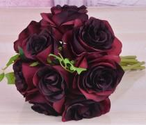 wedding photo - Burgundy Flower Bouquet Silk Rose Flower Dark Red Bouquet Burgundy Bridesmaids Bouquet Artificial Flower Bouquets Silk Roses ZHHSZ10-02