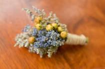 wedding photo - Lavender meadow boutonniere, lavender boutonniere, yellow, summer boutonniere, fall boutonniere, rustic wedding, summer wedding, wildflowers