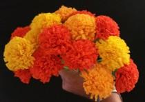 wedding photo - Day of the Dead 24 Orange and Yellow Marigolds, Dia de Los Muertos, Mexican Flowers, Crepe Paper Flowers, Wedding Decorations, Party Decor