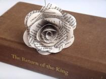 wedding photo - Lord of the Rings Book Page Flowers, Individual White Book Page Roses, Literary Flowers, Lord of the Rings Gifts, Lord of the Rings Wedding