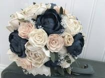 wedding photo - Sola flower bouquet, blush sola wooden flower wedding bouquet, blush pink and navy, peony wedding bouquet, keepsake, blush pink ecoflowers