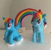 wedding photo - 3D Edible Cake Topper Cute My Little Pony Pinkie Pie Rainbow Dash Rareity Fluttershy  Worldwide Shipping