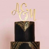 wedding photo - Initial Cake Topper Monogram, Letter Cake Topper, Wedding Cake Topper, Custom Cake Topper, Wedding Monogram, Glitter Cake Topper, Gold Cake