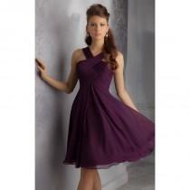 wedding photo - Eggplant V-Neck Short Dress by Angelina Faccenda Bridesmaids - Color Your Classy Wardrobe