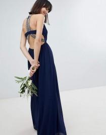 wedding photo - TFNC Embellished Back Detail Maxi Bridesmaid Dress