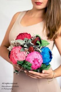 wedding photo - Wedding bouquet,bridal bouquet,paper flowers bouquet,bridesmaid bouquet, peony bouquet,paper flower peony,