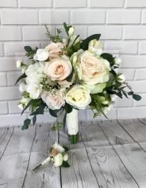 wedding photo - Blush Wedding bouquet, Bridal bouquet,Blush wedding flowers,Boho bouquet,Bridal flowers,Eucalyptus bouquet,Wedding accessory,Silk bouquet