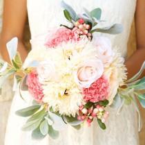 wedding photo - Bouquet Ivory Peach Blush Pink Spring Summer Garden Wedding