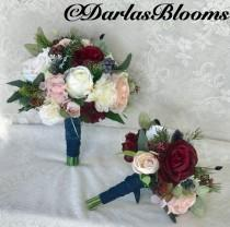 wedding photo - Wedding bouquet,Bridal bouquet,Burgundy & Navy bouquet,Burgundy Wedding Flowers, Navy Blue and blush bouquet, Burgundy, Blush,Navy bouquet