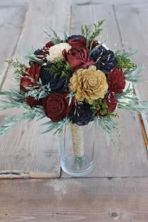 wedding photo - Burgundy, Navy Blue, & Gold Eucalyptus Sola Bouquet, Eucalyptus Leaf Bouquet, Burgundy Rose Bouquet, Burgundy Rose, Preserved Flower Bouquet