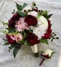wedding photo - Wedding bouquet,Burgundy Blush Bridal bouquet,Silk Wedding flowers,burgundy bouquet,Wedding accessory,Blush wedding flowers,Burgundy bouquet