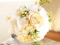 wedding photo - White, Ivory and Champagne Handmade Keepsake Bridal Bouquet, Roses and Anemones