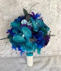 wedding photo - Peacock Wedding Bouquet, Feather Wedding Bouquet, Wedding Accessory, Peacock Bridal Flowers, Teal & Purple Wedding Flowers, Peacock Bouquet