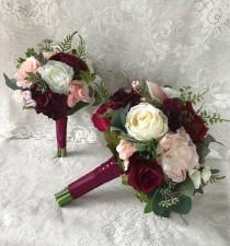 wedding photo - Wedding bouquet,Burgundy Wine Bridal bouquet,Blush Bouquet,Silk Wedding Flowers,Burgundy and Blush Bouquet,Dusty Pink Bouquet,
