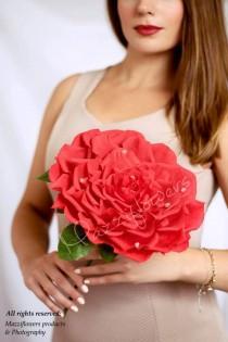 wedding photo - Bridal bouquet,bridesmaids bouquet,big rose,giant flower,wedding bouquet,paper flowers,paper flower rose
